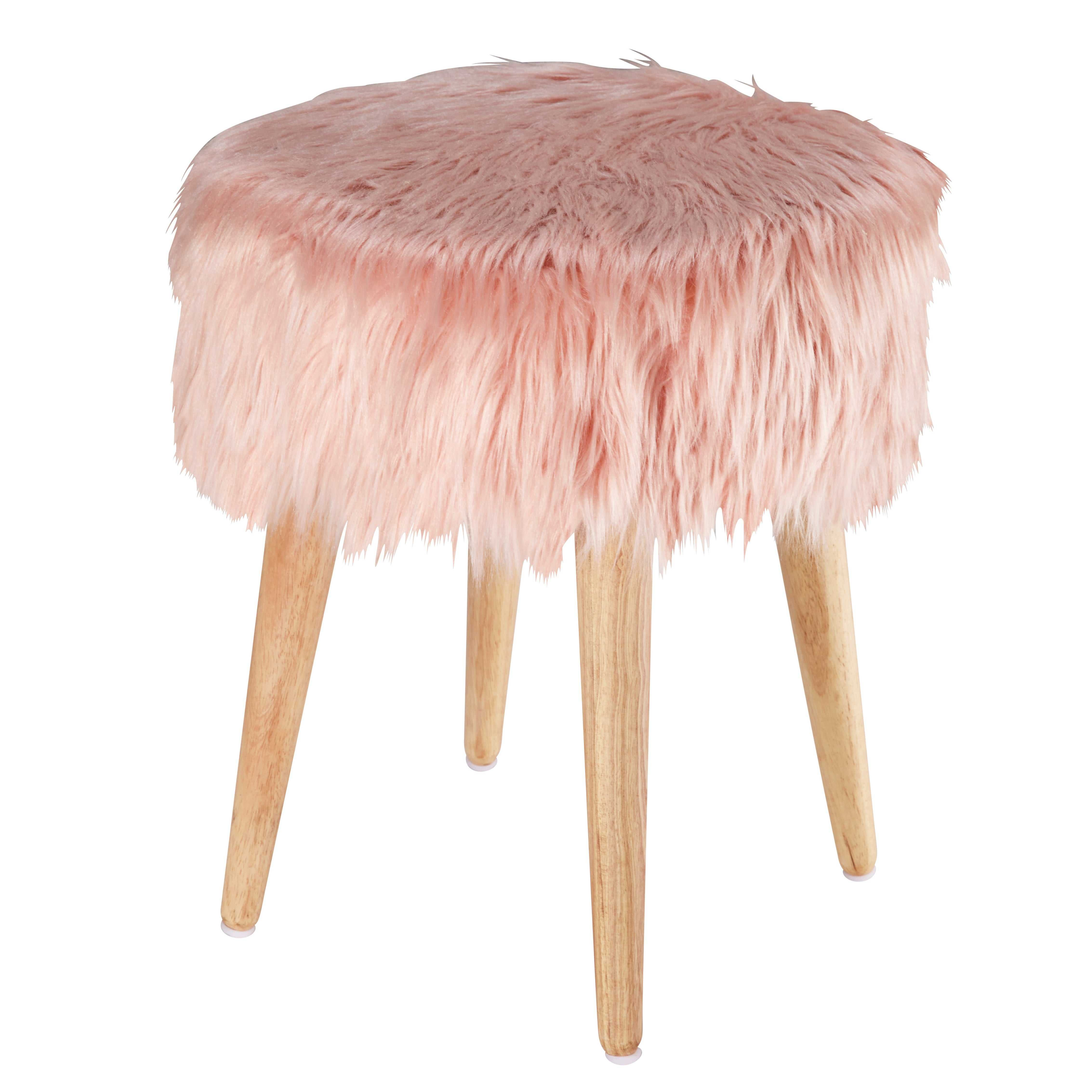 Tabouret assise fausse fourrure