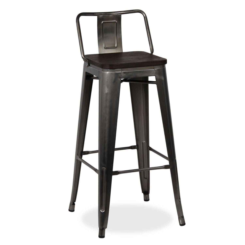 Tabouret tolix assise en bois 76 cm xavier pauchard style - métal
