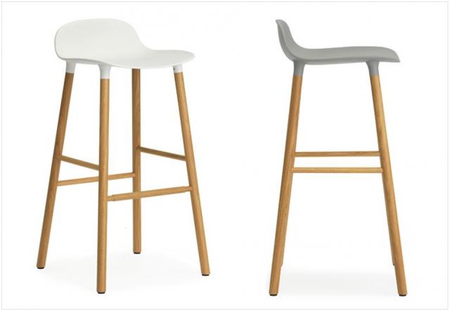 Chaise de bar bois et blanc