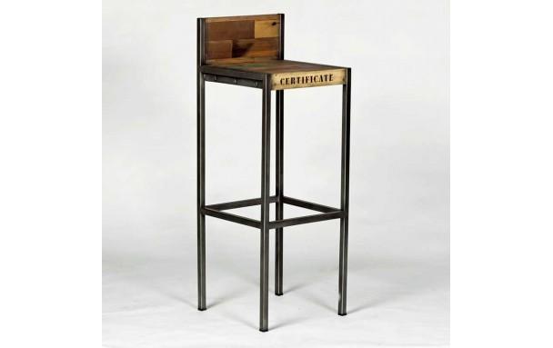 Tabouret de bar en bois avec dossier